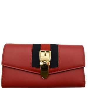 GUCCI  Sylvie Continental Leather Wallet Red
